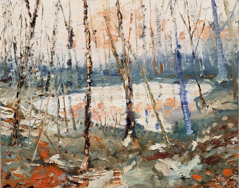 Jeroen Witvliet, Pond, oil on panel, Elissa Cristall Gallery