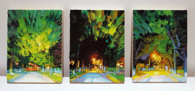 Mara Korkola, landscape painting, night scenes, city scenes, contemporary art, Vancouver, Elissa Cristall Gallery