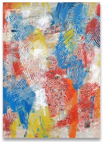 Randall Steeves, abstract painting, red, blue, yellow, encaustic, contemporary art, Vancouver, Elissa Cristall Gallery