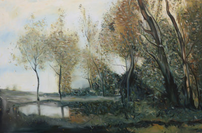Christopher Friesen, landscape, impressionist painting, corot, contemporary art, Vancouver, Elissa Cristall Gallery