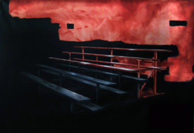 Jeroen Witvliet, Sighting Bleachers, oil on canvas, 74x102, Elissa Cristall Gallery, Contemporary Art, Vancouver, BC Canada