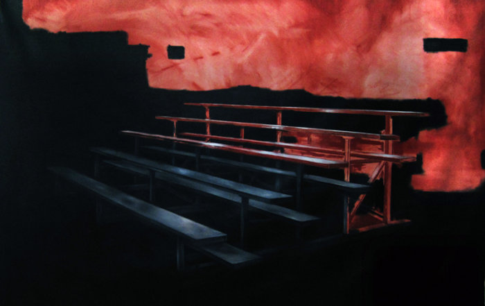 Jeroen Witvliet, Sighting Bleachers, oil on canvas, 74x102, Elissa Cristall Gallery, Contemporary Art, Vancouver, BC Canada
