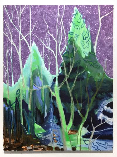 Kyle Scheurmann, Purple Sky, Canadian landscape painting, Vancouver, contemporary art gallery, Elissa Cristall Gallery