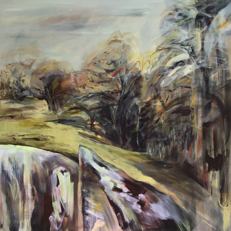 Lesley Finlayson, filter/ed #3, impressionist landscape, acrylic on canvas, 48 x 48 inches-Elissa Cristall Gallery