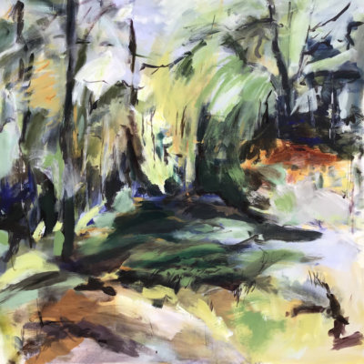 Lesley Finlayson, filter/ed #5, impressionist landscape, acrylic on canvas, 36 x 36 inches-Elissa Cristall Gallery