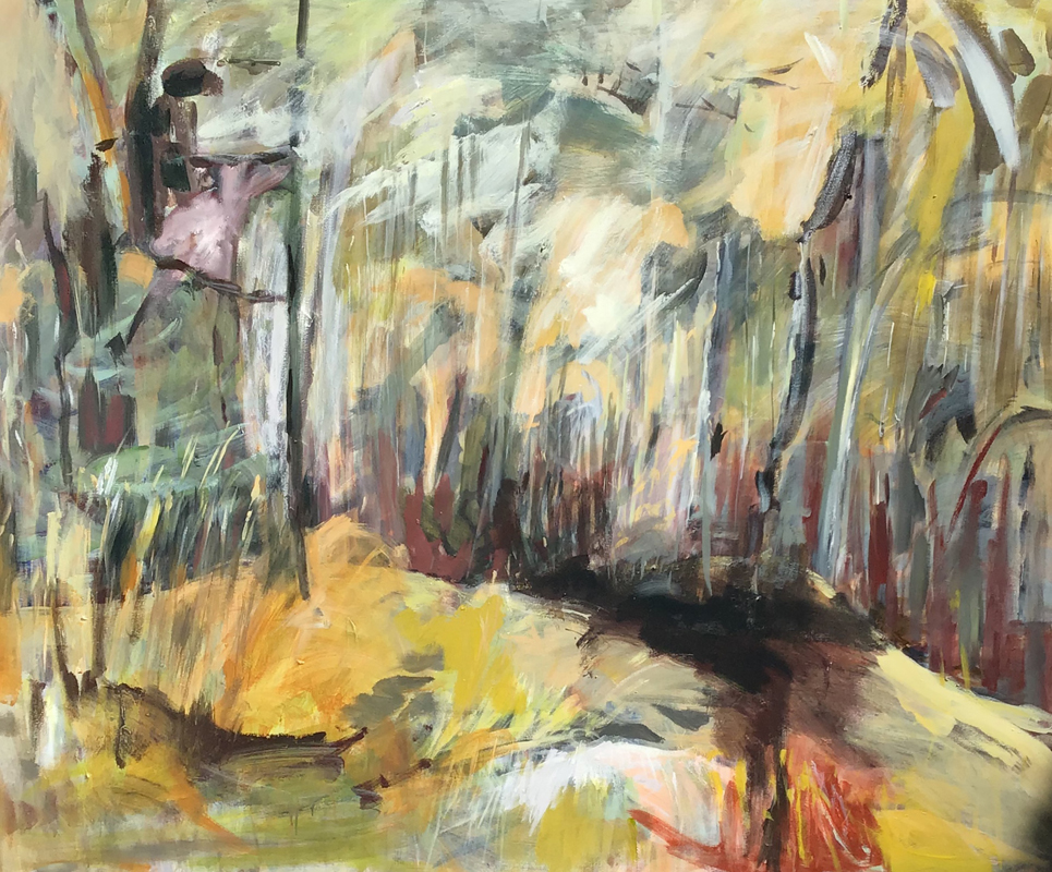Lesley Finlayson, filter/ed #6, impressionist landscape, acrylic on canvas, 48 x 60 inches-Elissa Cristall Gallery