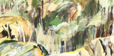 Lesley Finlayson, filter/ed #7, impressionist landscape, acrylic on canvas, 24 x 48 inches-Elissa Cristall Gallery