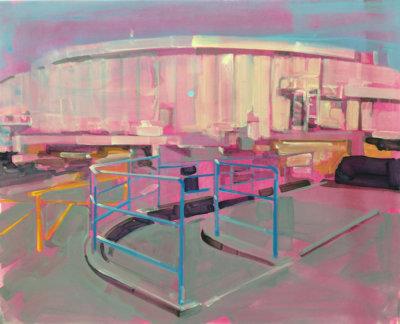 Gillian Richards, Blue Railing, urban landscape Vancouver, Elissa Cristall Gallery