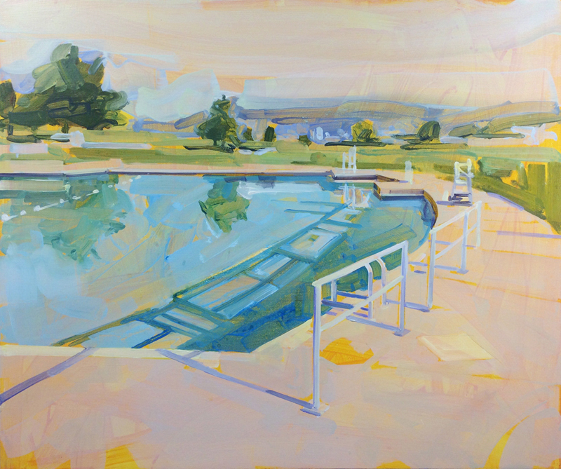 Gillian Richards, New Brighton Pool, urban landscapes, Vancouver, Elissa Cristall Gallery