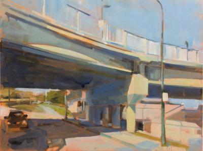 Gillian Richards, Overpass, acrylic on canvas, urban landscapes, Elissa Cristall Gallery