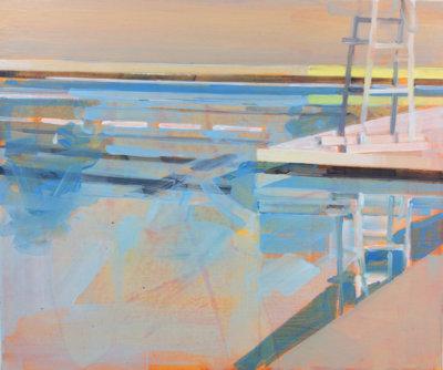 Gillian Richards, Pool 2, acrylic on canvas, urban landscape, Elissa Cristall Gallery