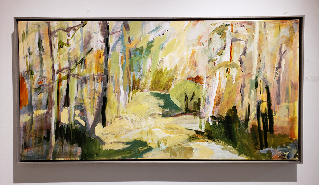 "Lesley Finlayson, filter/ed #8, acrylic on canvas, 24"" x 48"", landscape"