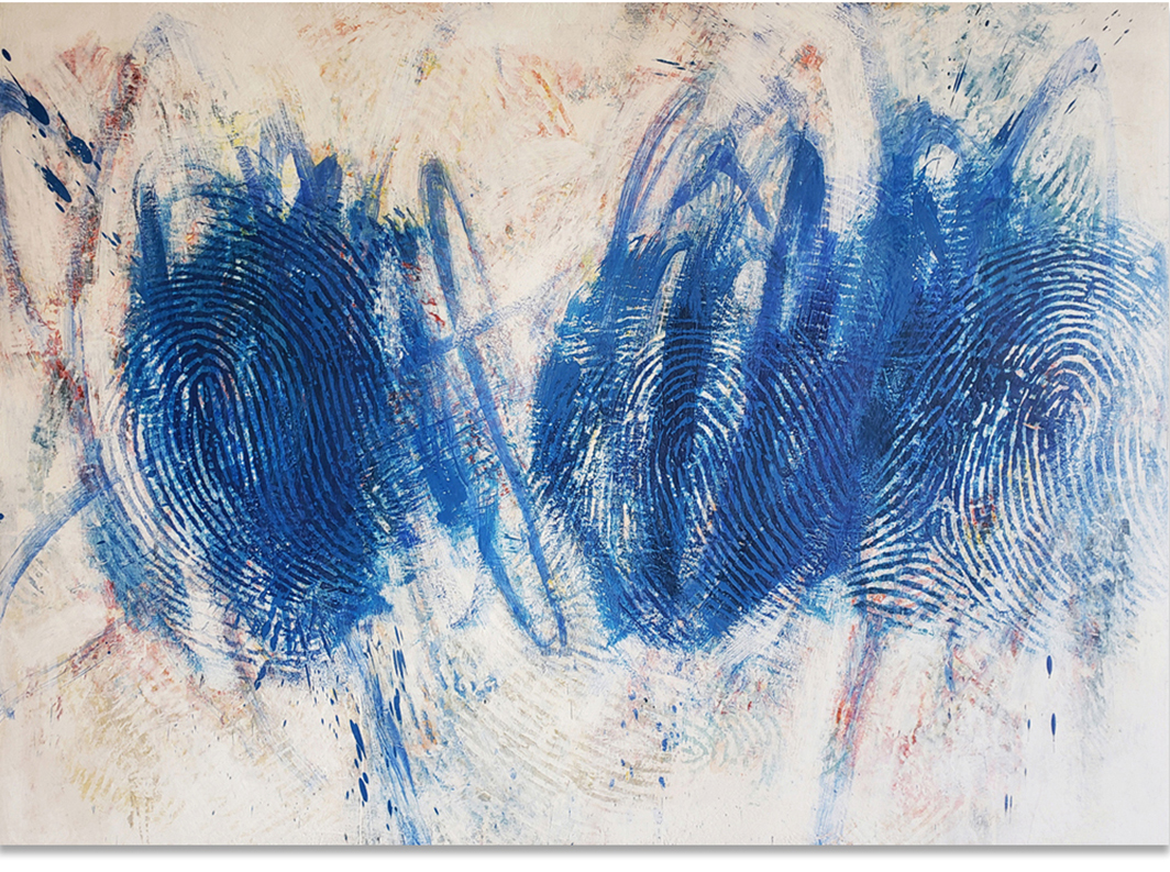 "Randall Steeves, Collider, encaustic on canvas, 48"" x 66""-Elissa-Cristall-Gallery"