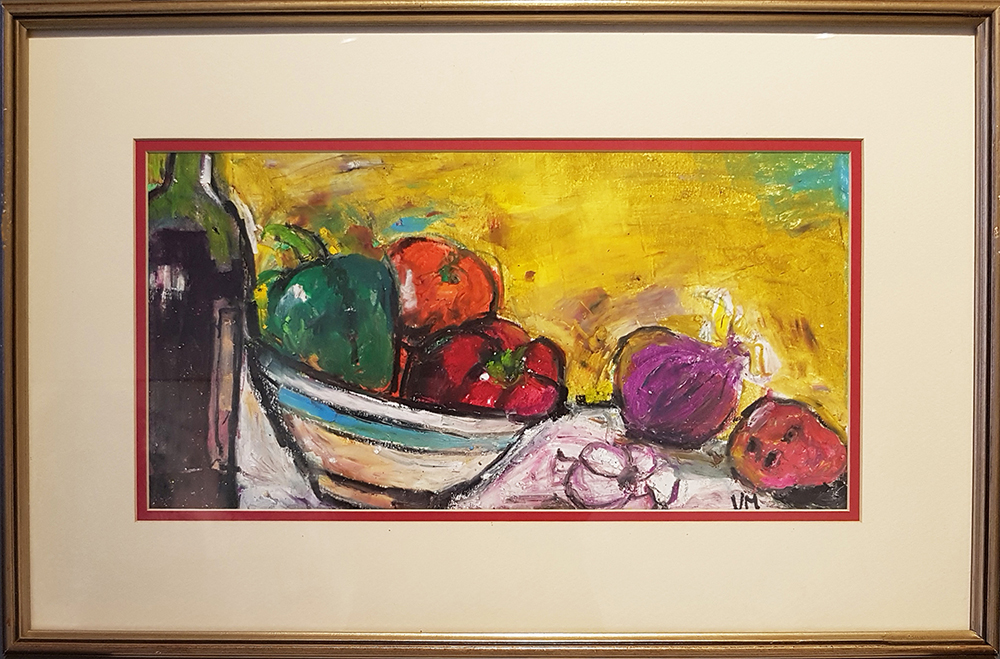 VIcky Marshall, Still Life (peppers), oil pastel